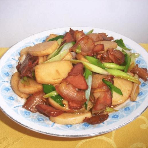 自制腊肉炒年糕
