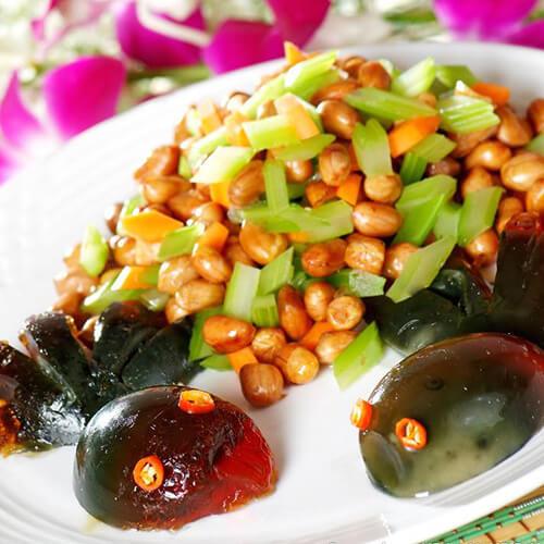 芹菜叶拌皮蛋