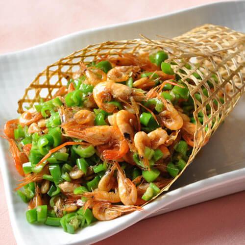 提高食欲青椒炒红虾米
