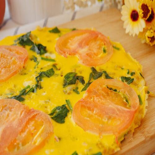 菠菜番茄煎蛋饼