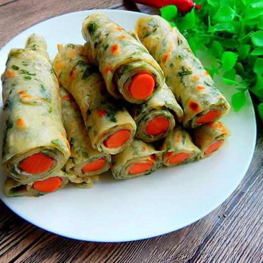 芹菜叶卷火腿饼