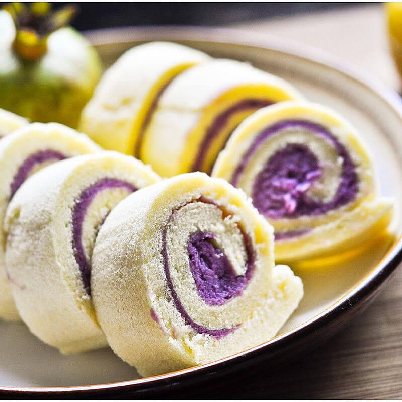 彩绘紫薯芒果蛋糕卷