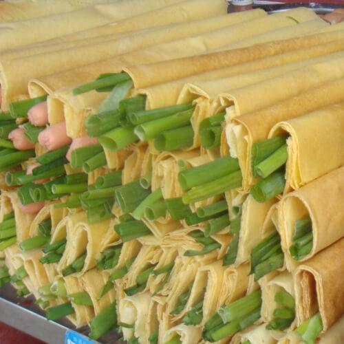 咸香的煎饼卷大葱