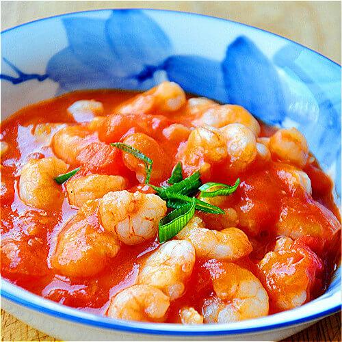 家常菜番茄虾球