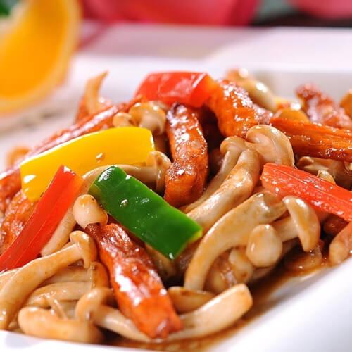 大蒜火腿肠炒白玉菇