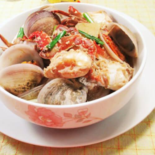 圆蛤煮螃蟹