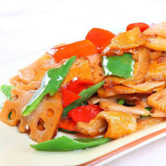 美味肉丝炒青椒藕片