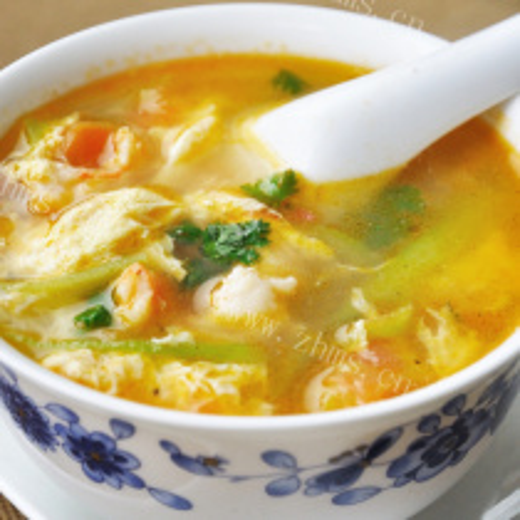 番茄虾仁鸡蛋汤