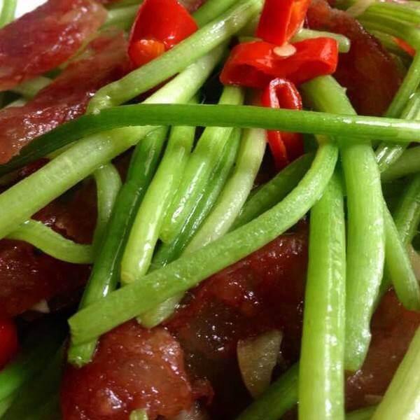 红薯杆炒火腿