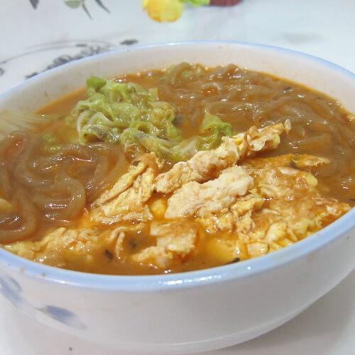 营养美味白菜鸡蛋粉丝汤