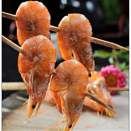 美味的串烤大虾