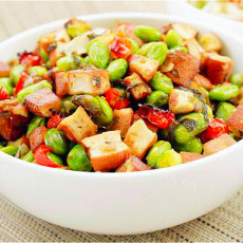 营养好吃的雪菜毛豆炒豆干