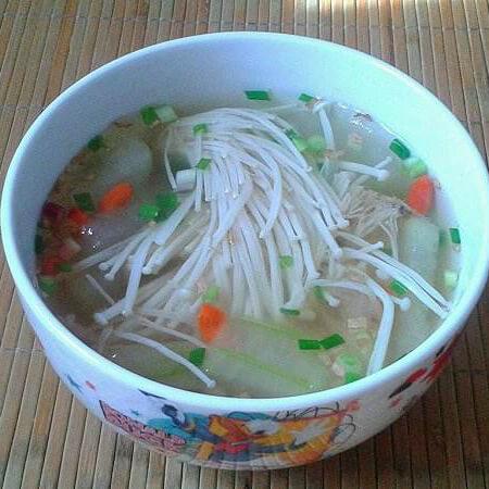 金针菇素肉汤