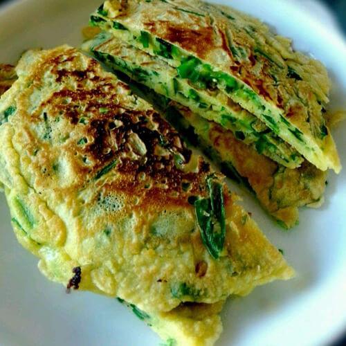 韭菜鸡蛋荞麦饼