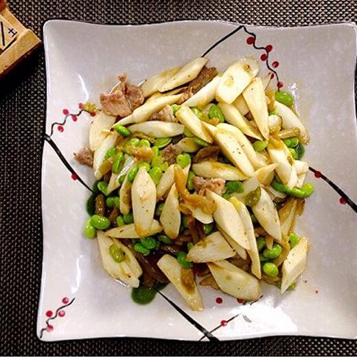 青椒毛豆米炒茭白