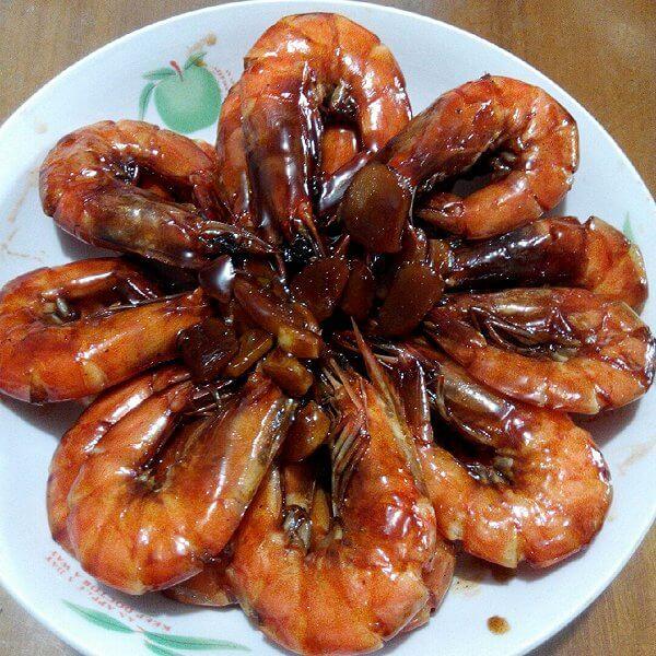 柔软的干烧黑虎虾