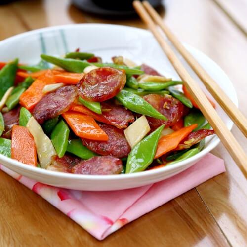 刀豆杏鲍菇炒香肠