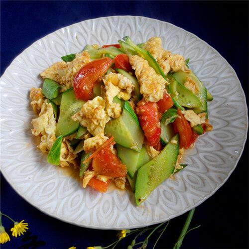 黄瓜西红柿炒蛋
