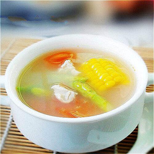 西红柿芦笋肉片汤