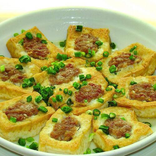 猪肝豆腐酿
