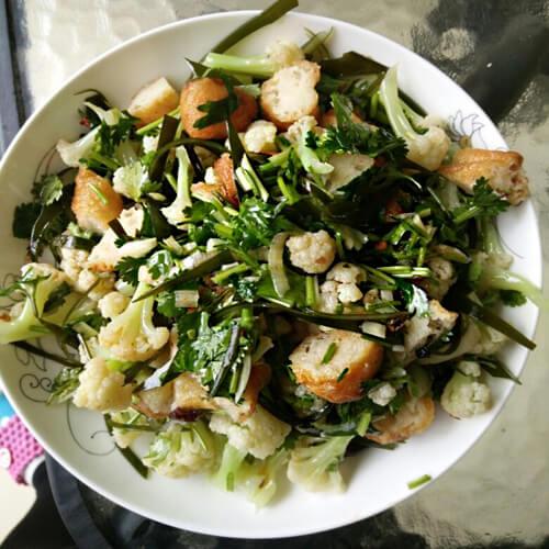 菜花油条小凉菜