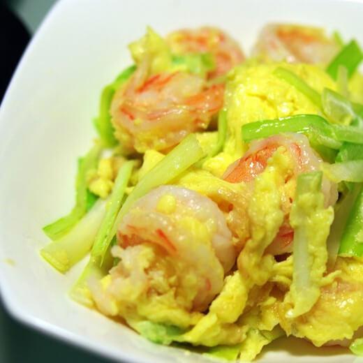 韭黄虾仁炒滑蛋