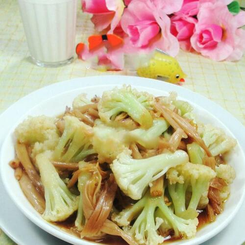 黄花菜炒花菜