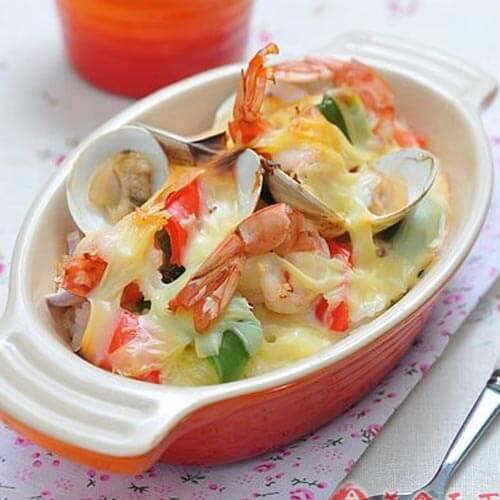 核桃海鲜焗饭