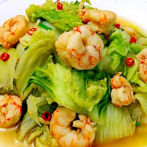 辣白菜炒虾仁
