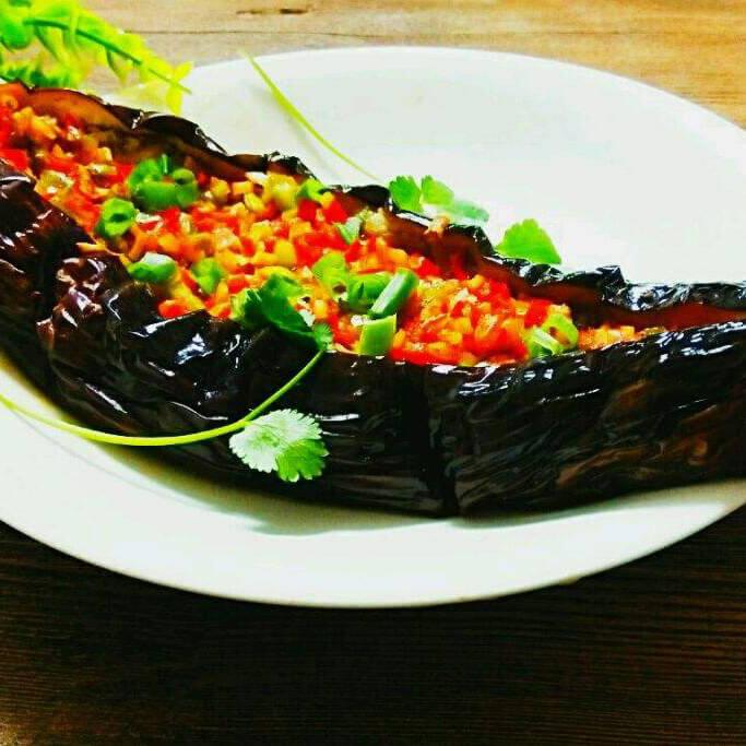 美味的烤肉沫茄子