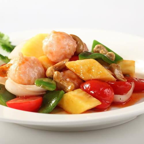 菠萝炒大虾段