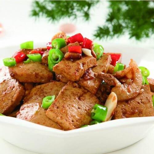 糟辣子蒜苗炒煎豆腐