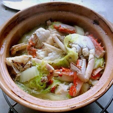鸡汤白菜煲海蟹