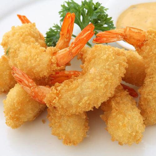 美味的橙汁面包虾