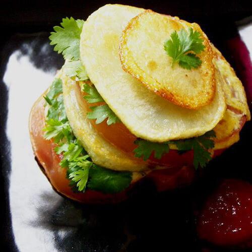 蛋焗香葱土豆饭