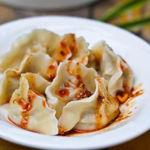 美味茄子猪肉饺子