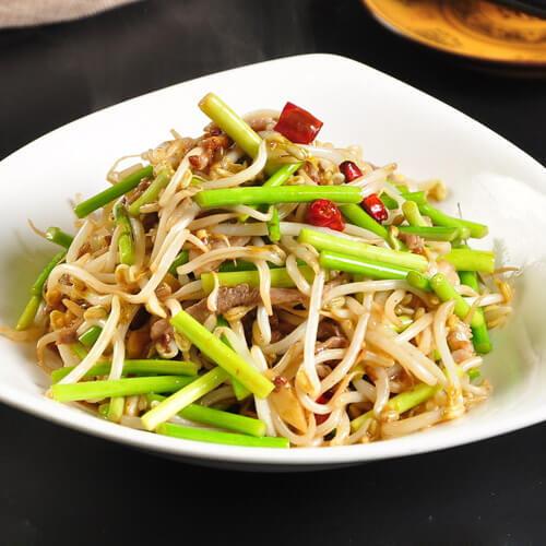 家常菜绿豆芽炒肉