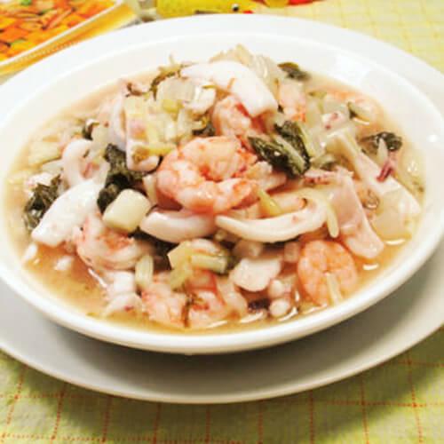 腌白菜炒海鲜