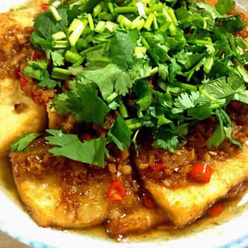 蒜末香菜豆腐