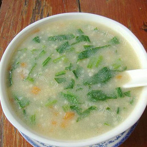 小米菠菜豆腐粥