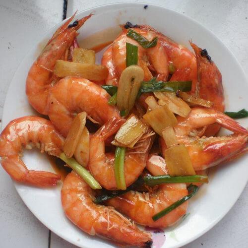 姜葱煎炒虾