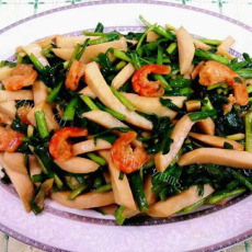 鲍菇丝炒韭菜