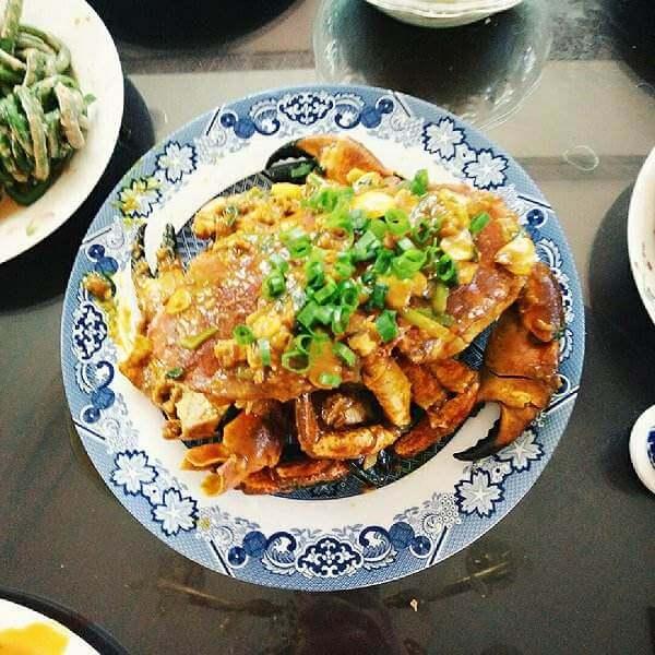 可口的土豆青椒炒膏蟹