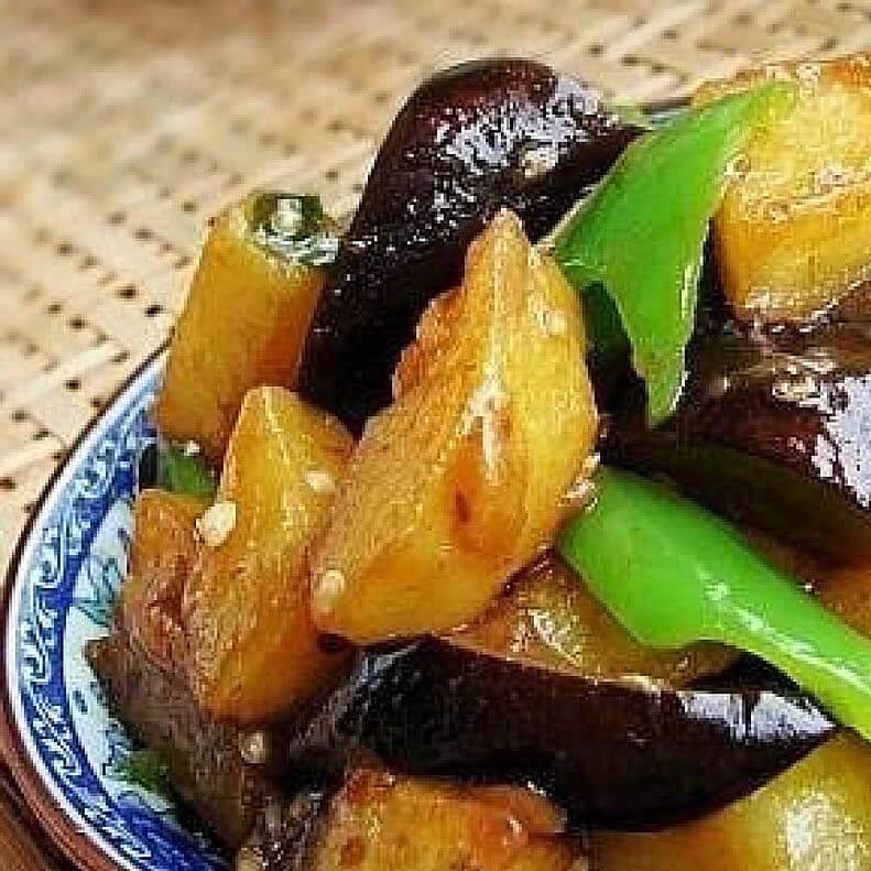 家常肉末茄子炒土豆