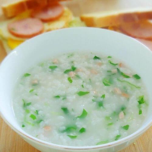 美味青菜鸭肝粥