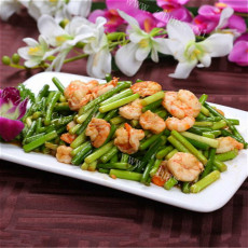 蒜苔滑虾仁