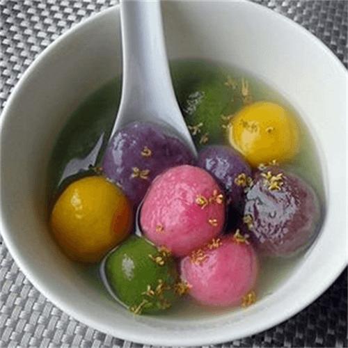 紫薯红糖芝麻馅汤圆