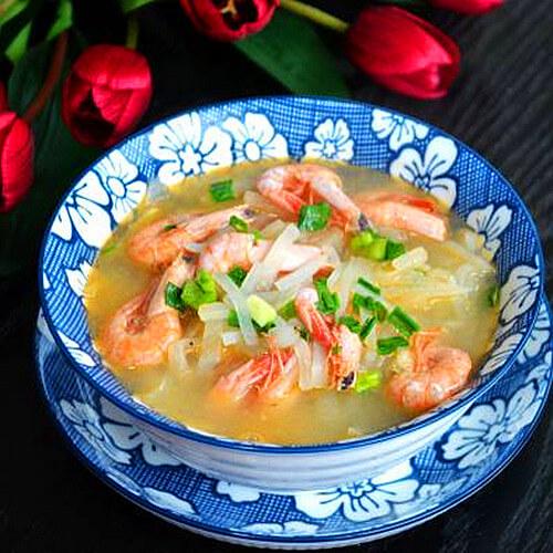 海虾萝卜丝煲