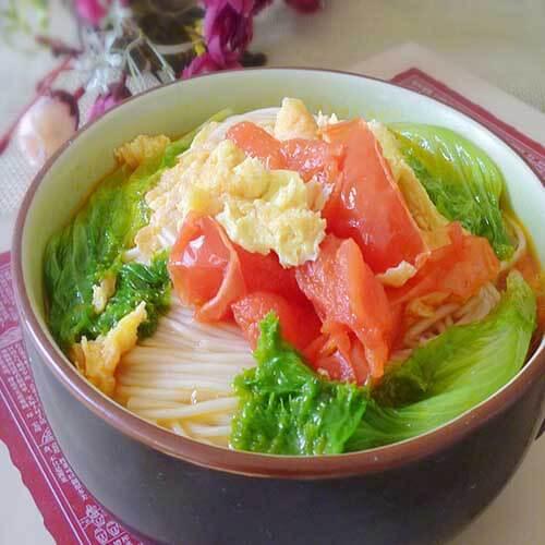 鸡蛋柿子汤面