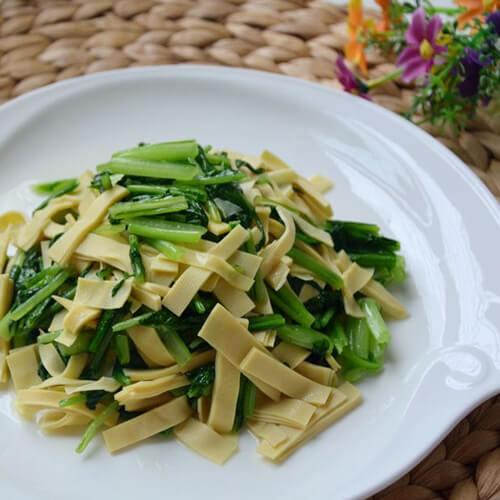 小松菜炒豆皮